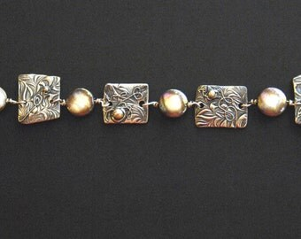 "Handmade Artisan 999 Pure Silver PMC & Copper Coin Pearl Bracelet  ""Jungle Vines"""