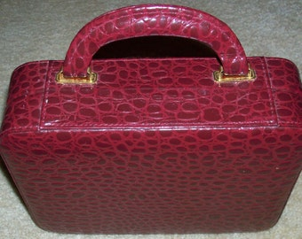 Reduced: Vintage Travel Multi Storage Burgandy Red and Beige Interior Jewelry Case with Handle and Clasp