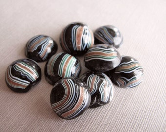 4pcs Vintage Rustic Aventurine Green and White Random Stripes on Black Glass Cabochons 19mm - C-29MCFS-79, Domed Round Flat Back Cabochons