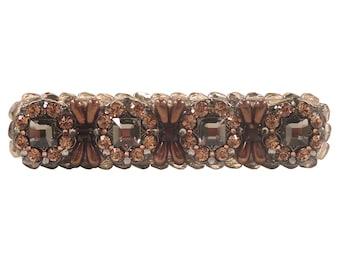 Ultra Bling Drawer Pull Swarovski Crystals Czech Glass Beads/Dresser Drawers/Kitchen Cabinet/Unique Art Deco/Furniture/Jeweled/Elegant/Brown