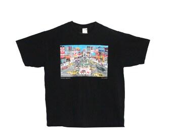 Retro 90s Pat Singer New York City Times Square Illustration Poster T-Shirt (Copyright 1992) | Famous Artist, Cartoonist