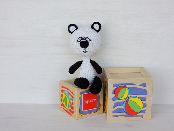 Little Panda Toys : Baby gift kids toys little cute panda miniature by coloredyarn