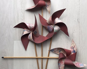 Pinwheels paper handmade - Vintage Fourth of July - pack of 4, sizes - 25cm, 30cm, 35cm and 40cm
