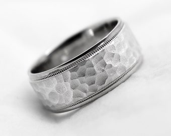 925 Sterling Silver 8 mm Hammered Wedding Band, Sterling Silver Rings, Silver Wedding Ring, Matching Band, 8008W
