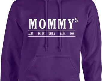 mommy Hoodies With kids Names ,Custom mummy long sleeves hooded sweatshirts, Birthday gift, mother's day gift, mothers day, top, mum gift