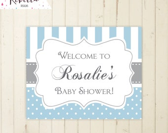 sign baby shower baby blue boy baby shower polka dots welcome sign