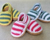 PDF PATTERN Stripy Espadrille Shoes American and English Versions Digital File Instant Download