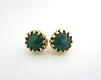 Emerald stud earrings, Gold Emerald Stud, Green Post earrings, Gold and Green, May Birthstone Earrings, Emerald Jewellery, Gift for Her