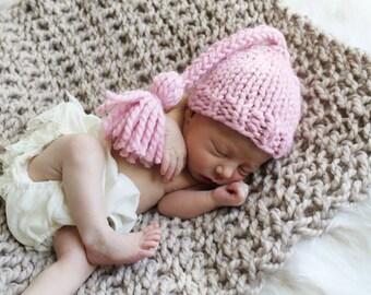 Baby Hat Knit, Photography Prop Newborn, Tassel Hat Blossom- Gardenia Hat