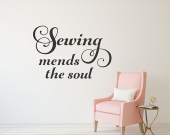 Sewing Mends the Soul Wall Decal Sewing Wall Decal Craft Room Decal Sewing Vinyl Decal Sewing Room Decor Sewing Room Decal Sewing Gift