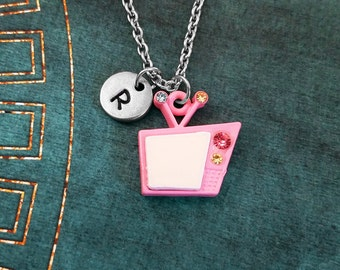 tv jewelry. tv necklace small retro tv jewelry pink charm television vintage