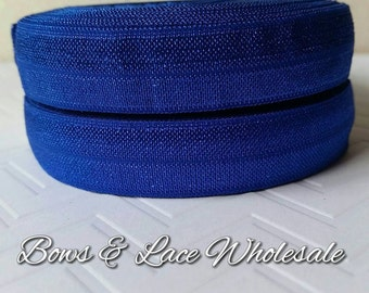 2, 3, 4, 5 or 10 yards Cobalt Fold over elastic, FOE. Headbands, Hair ties, DIY, Crafts, Hair accessories