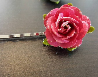 Paper Rose Bobby Pin