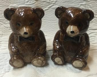 Otagiri Teddy Bear Salt and Pepper Shakers, Otagiri Shakers, Teddy Bear S & P, Brown Bear Shakers, Teddy Bear Shakers, Brown Bear S and P