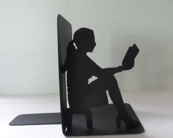 Girl Woman Lady Reading Bookend Right Side - Metal Bookend  R