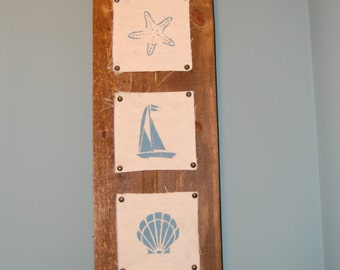 3 Image Rustic Beach Wall Decor on Painted Canvas - Made with Pallets