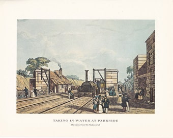 Railway vintage steam train Liverpool and Manchester print taking in water at Parkside illustration home office décor 9.5 x 7 inches