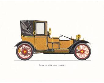 Lanchester 1908 (20 H.P.) British veteran car motoring brown vintage print illustration home office décor boy's nursery 9.5 x 7 inches