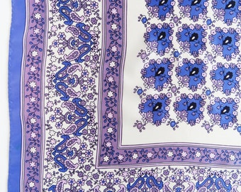 1960s purple paisley & floral scarf - retro beauty!