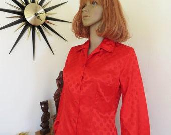 Vintage 70s red polka dot long sleeved blouse -