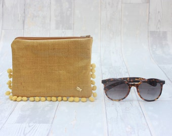 Mustard Zipper pouch, Pencil Case, Cosmetic Bag, Woman Make Up Bag, Hand made. Upstream