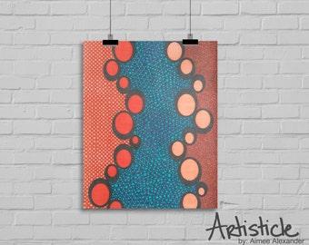 Orange Blue Print- Geometric Art - Abstract Decor - Contemporary Art - Tangerine Drawing - Modern Home Decor - Office Wall Art - Oval Shapes