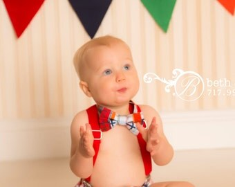 Boy Cake Smash Outfit,Boy 1st Birthday outfit,  boy cake smash, Bow Tie and Diaper Cover, 1st Birthday Outfit, Multi-Colored Plaid