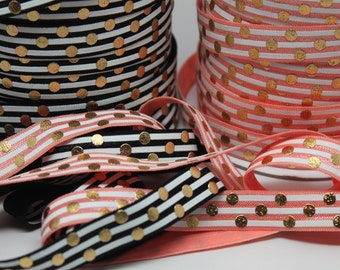 SALE***Black/ Peach FOE with White Stripes and Gold Dots Foil 5/8 -Print FOE, Headbands, Hair Ties and More!