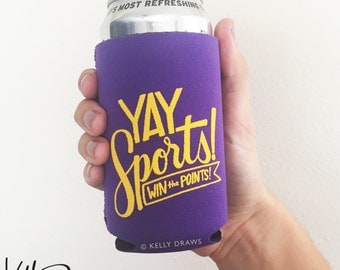 """Purple and Gold Neoprene """"Yay Sports! Win The Points!"""" Beverage Insulator Can Cooler Football Team Spirit"""