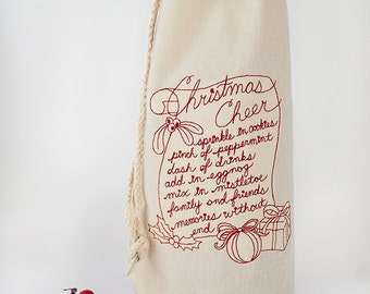 Christmas Cheer Wine Bag - Wine Gift - Gift Ideas - Christmas Gift Bag - Embroidered Gift Bag - Bottle Bag - Gifts under 20 - Family Gift