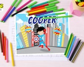 Captain America, Kids Superhero, Activity Mat, Learning, Childrens, Laminated, Color, ABC, Numbers, Learn to Write, Alphabet, Homeschool