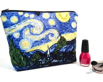 Starry Night Makeup Bag, Large Makeup Bag, Cosmetic Bag, Makeup Storage, Whimsical Makeup Case, Travel Bag, Cute Makeup Bag, Toiletry Bag