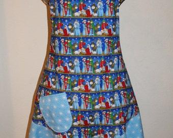 Women's XL Christmas Manger Scene Apron