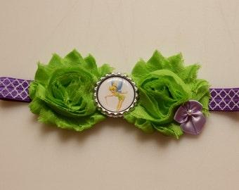 Tinkerbell Shabby Flower Bottlecap Headband
