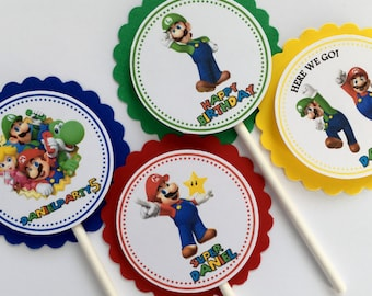 Set of 12 Personalized Mario Bros Cupcake Toppers, Mario Bros Party Birthday, Mario Birthday, Mario Bros Party, Mario Party Birthday