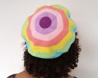 Pastel striped crochet beret - cotton beret - striped beret - pastel beret