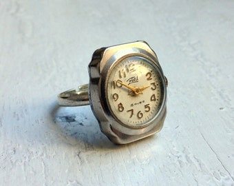 Silver Ring watch ,Vintage ring watch ,Soviet watch ring- montre femme- Russian watch - silver ring watch, Mechanical watch