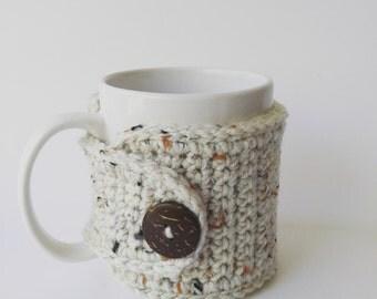 Rustic Mug Cozy, Crochet Mug Cozy, Tea Gift, Coffee Gift, Office Gift, Teacher Gift, Oatmeal, Holiday Gift
