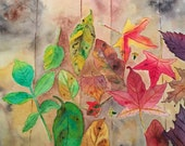 Fall Leaves Watercolor, L...