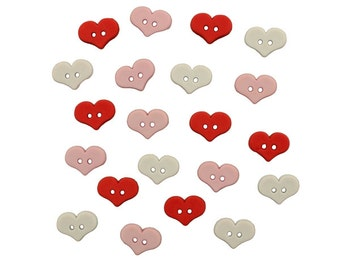 Tiny Heart Buttons, Red Heart Button, Pink Heart Button, White Heart Button, Romantic Valentine's Day, Sweet Heart Button, Cute Little Heart