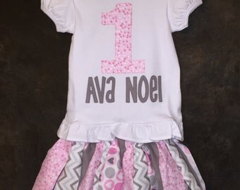 Personalized Pink and Gray Fabric Scrap Tutu 1st, 2nd, 3rd, 4th or 5th Birthday Outfit