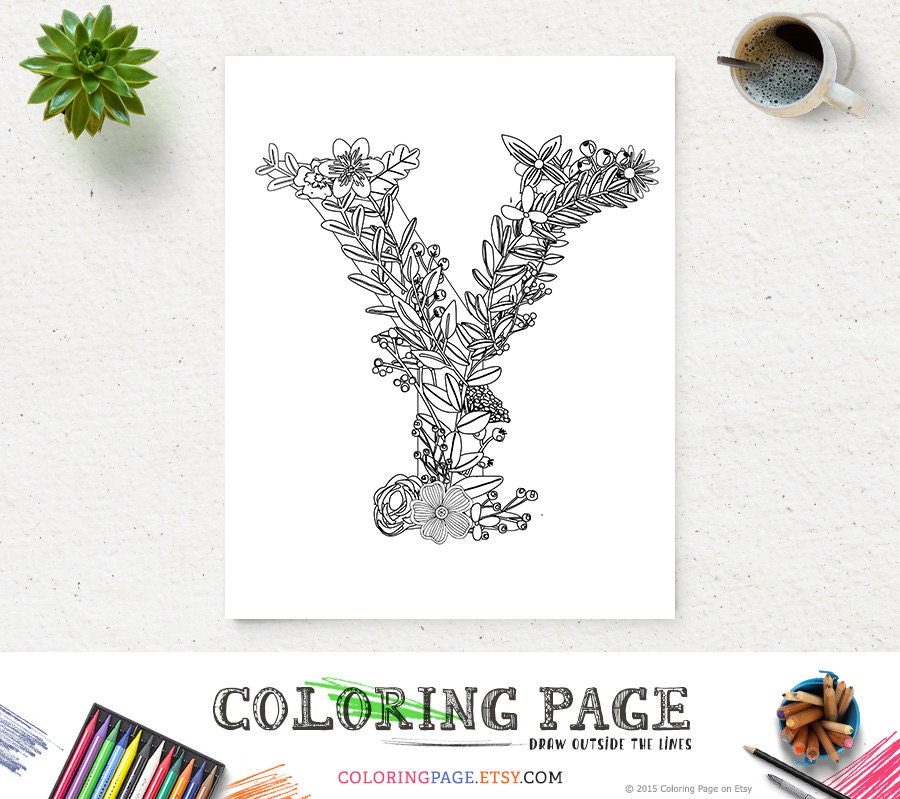 Printable Floral Alphabet Coloring Page Letter Y Instant