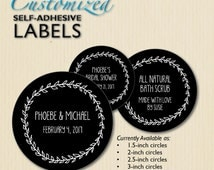 Custom Wedding Labels, Chalkboard, Bridal Shower, Envelope Seals, Favor Sticker, Product Labels, Candy Buffet, Mason Jar Label, Personalized