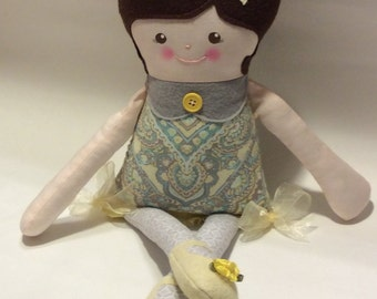 "Handmade Retro Mama Greta Cloth Doll 19"" Sophie Plush Softie Rag Doll With Brown Wool Felt Hair"