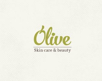 Pre made logo, Olive logo, Skin care, Nature logo, Handwritten logo, Professional business branding, Personal branding