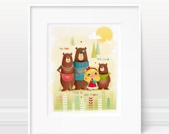 Goldilocks and the three bears - Storybook art, girls nursery art, nursery print