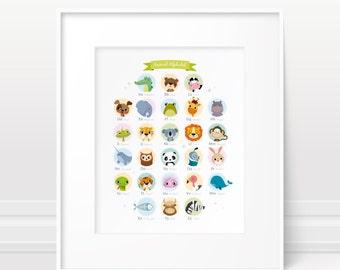 Alphabet print - Animal nursery art, animal alphabet