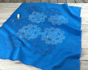 blue cotton fabric, heavy cotton hand dyed blue hand printed in white and dark blue venus pattern design, fabric panel for sewing