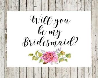 Will You Be My Bridesmaid Printable, Wedding Card, Calligraphy Printable, DIY Wedding, Bridal Proposal, Digital Download