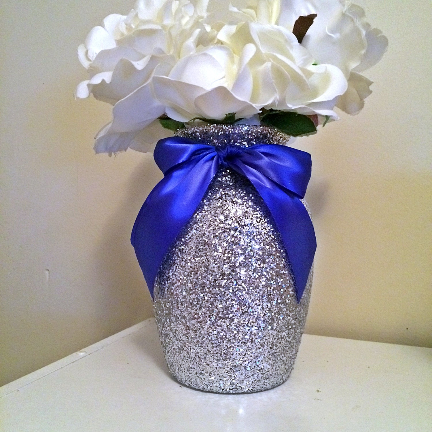 Royal Blue And Gold Wedding Decorations: Silver Vases Silver And Royal Blue Baby Shower Baby Shower